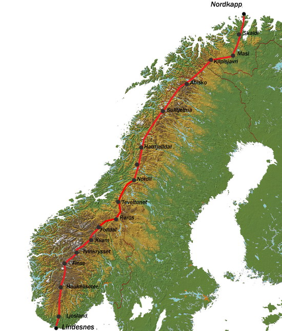 kart over fjell i norge Norge på langs 2006   breogfjellsport.no kart over fjell i norge