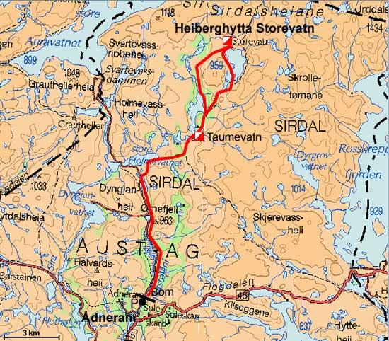 kart over sirdal BreogFjellsport.no   Ryfylkeheiane   HeibergtuStorevatn kart over sirdal
