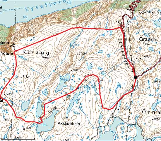 kjeragbolten kart BreogFjellsport.no   Ryfylkeheiane   Vårleg skitur i Frafjordheiane kjeragbolten kart